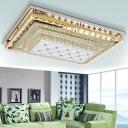 Rectangular Tier Flush Ceiling Light Modern Style Crystal Clear LED Flush Mounted Lamp for Living Room