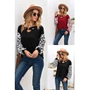 Ladies Fashion Leopard Patterned Blouson Sleeves Hollow-out V-neck Loose Tee