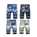 Trendy Men's Shorts Tie Dye Pattern Pleated Distressed Detail Frayed Hem Button Fly Regular Fitted Shorts with Washing Effect