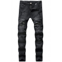 Punk Cool Mens Mid Rise Distressed Bleach Long Length Skinny Jeans in Black
