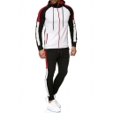 Stylish Men's Gym Co-ords Color Block Contrast Stitching Zip Pocket Long Sleeves Regular Fitted Drawstring Hooded Sweatshirt with Ankle Length Pants