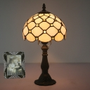 Hand Cut Glass Netting Night Light Baroque Single-Bulb Yellow/Blue/Green Table Lamp with for Bedroom