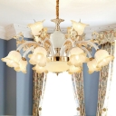 Antique Blossom Chandelier Lamp 6/8/12 Lights Frost Glass Pendant Light Fixture in White