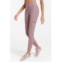 Elegant Women's Leggings Solid Color Rib Knitted Flap Pocket Flatlock Stitching High Waist Ankle Length Skinny Seamless Yoga Leggings