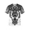 Fashionable Men's Tee Top Graphic 3D Pattern Round Neck Short Sleeves Regular Fitted T-Shirt
