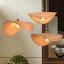 1 Bulb Dining Table Hanging Pendant Modern Wood Ceiling Light with Curved Bamboo Shade, 16
