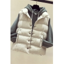 Retro Women's Down Vest Solid Color Quilted Buckle Pocket Sleeveless Button Closure Relaxed Fit Down Vest