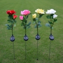 Red/White/Pink Rose Stake Light Set Contemporary 2-Head Plastic Solar Pathway Lamp, 1 Piece