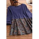Trendy Women's Blouse Patchwork Contrast Panel Tribal Print Round Neck Long Sleeves Relaxed Fit Blouse Shirt