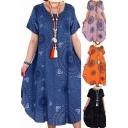 Leisure Womens Dress Polka Dot Print Short Sleeve Round Neck Mid Oversize Dress