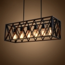4/6 Lights Island Pendant Industrial Rectangular X-Cage Iron Hanging Lamp in Black for Bistro
