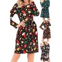 Womens Popular Dress All Over Mixed Christmas Cartoon Print Long Sleeve Round Neck Mid A-line Dress