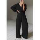 Popular Womens Set Solid Color Long Sleeve Spread Collar Button Up Relaxed Shirt & Long Wide-leg Pants Set