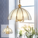 Dome Sandblasted Glass Chandelier Traditional 5 Lights Dining Room Ceiling Pendant in Gold