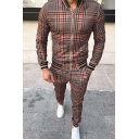 Fancy Men's Co-ords Houndstooth Contrast Stripe Trim Zip Fly Side Pocket Long Sleeves Regular Fitted Jacket with Ankle Length Pants