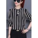 Leisure Women's Blouse Stripe Pattern Mock Neck Long Sleeves Regular Fitted Shirt Blouse
