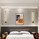 Black/Gold Rod LED Wall Sconce Minimalist Metal Small/Medium/Large Wall Mounted Lamp in Warm/White Light/Third Gear