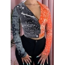 Stylish Jacket Colorblock Totem Print Long Sleeve Stand Collar Zip Up Slim Crop Jacket for Women