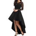 Amazing Ladies Dress Sheer Lace Patched Long Sleeve Round Neck High Low Hem Plain Long Flared Dress