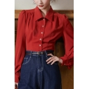 Trendy Women's Shirt Blouse Solid Color Button Closure Turn-down Collar Long Bishop Sleeves Regular Fitted Shirt Blouse