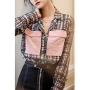 Trendy Women's Shirt Blouse Patchwork Color Block Pattern Button Fly Notched Lapel Collar Long Sleeves Regular Fitted Shirt Blouse