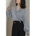 Leisure Women's Shirt Blouse Solid Color Twist Front Long Bishop Sleeves V Neck Relaxed Fix Shirt Blouse