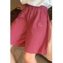 Leisure Women's Shorts Elastic Waist Side Pocket High Rise Regular Fitted Shorts