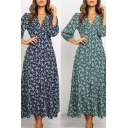 Womens Stylish Dress Ditsy Flower Print 3/4 Sleeve Deep V-neck Long A-line Dress