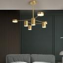 Sputnik Bedroom Hanging Chandelier Metal 8/10/12 Heads Post-Modern Suspension Light in Black/Gold