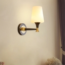 Conical Living Room Wall Lamp Simple Opal Glass 1/2-Head Brass and Black Wall Light Fixture