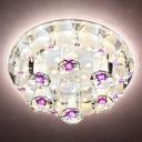 Circular LED Corridor Ceiling Lamp Clear Crystal Modernist Flush Mount Spotlight in Warm/White/Natural Light, 7