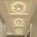 Blossom Ceiling Mounted Light Modern Clear Crystal Hallway LED Flushmount in Warm/White/Pink Light, 3/5w