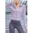 Basic Womens Jacket Solid Color Long Sleeve Stand Collar Zip Up Slim Fit Jacket