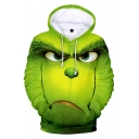 The Grinch 3D Pattern Long Sleeve Casual Loose Green Drawstring Hoodie