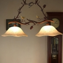 Scalloped Dining Room Island Light Rural Fabric/Frost Glass 2-Light Brown Drop Lamp with Pine Branch and Bird Deco