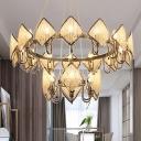 1/2-Tiered Rhombus Crystal Chandelier Postmodern 6/20/24-Light Chrome/Gold Finish Pendant Light, Small/Large