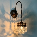 Metal Crown Shaped Wall Lamp Mid-Century Single Brass/Bronze Wall Hanging Light with Crystal Drop