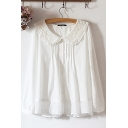 Fancy Women's Shirt Blouse Solid Color Peter Pan Collar Lace Trim Long Sleeves Pleated Detail Button Detail Relaxed Fit Shirt Blouse