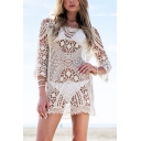 Retro Womens Dress Hollow out Crochet Lace Crew Neck 3/4 Sleeve Regular Fitted Mini Beach Cover up Dress