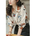 Unique Women's Shirt Blouse Geometric Pattern Button Closure Turn-down Collar Long-sleeved Regular Fitted Shirt Blouse