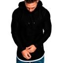 Leisure Men's Hoodie Heathered Label Long-sleeved Regular Fitted Drawstring Hooded Sweatshirt