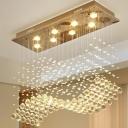 8 Bulbs Flush Mount Ceiling Light Modernist Wavy Cut-Crystal Flush Mounted Lamp in Stainless Steel