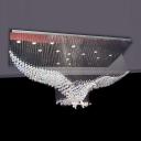 Crystal Eagle Flush Mount Ceiling Light Novelty Modern 11/14-Bulb Bedroom Flushmount in Stainless Steel