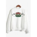 Womens Classic Letter CENTRAL PERK Print Long Sleeve Thick Pullover Sweatshirt