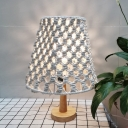 1 Bulb Cross-Woven Tapered Table Light Bohemian Yellow and Wood Roped Nightstand Lamp