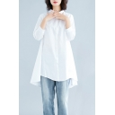 Leisure Women's Shirt Blouse Solid Color Button Fly Turn-down Collar Half Sleeves Asymmetrical Hem Relaxed Fit Shirt Blouse