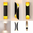 Spiral/Tube/Curved Wall Sconce Light Mid-Century Metal 2 Heads Black Small/Large Wall Mounted Lamp for Bedroom