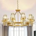 6/8/10 Lights Conical Chandelier Modern Black/Gold Crystal Block Ceiling Suspension Lamp for Bedroom