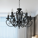 Traditional Scroll Arm Hanging Light Kit 6/8 Heads Metal Candle Chandelier Pendant Lamp in Black