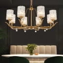 3/6/8 Heads Cylindrical Hanging Light Postmodern Brass Clear Textured Glass Chandelier over Table